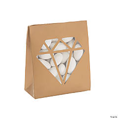 Gold Tented Favor Boxes with Diamond-Shaped Window