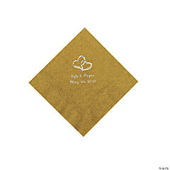 Gold Two Hearts Personalized Napkins with Silver Foil - Beverage