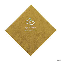 Gold Two Hearts Personalized Napkins with Silver Foil - Luncheon