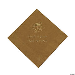 Gold Wedding Bells Personalized Napkins with Gold Foil - Beverage