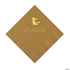 Gold Witch Personalized Napkins with Gold Foil – Luncheon