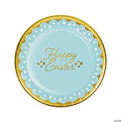 Golden Easter Paper Dinner Plates