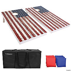 GoSports 4'x2' Reguation Size Premium Wood Cornhole Set - Rustic American Flag Design, Includes Two 4'x2' Boards, 8 Bean Bags, Carrying Case and Game Rules