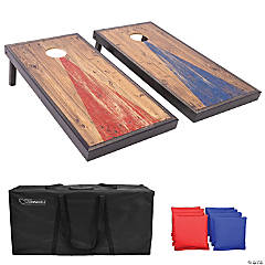 GoSports 4'x2' Reguation Size Premium Wood Cornhole Set - Vintage Wood Steel Design, Includes Two 4'x2' Boards, 8 Bean Bags, Carrying Case and Game Rules