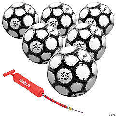 GoSports Fusion Soccer Ball with Premium Pump 6 Pack, Size 5, Black