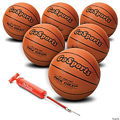 GoSports Indoor / Outdoor Rubber Basketballs - Six Pack of Size 7 Balls with Pump & Carrying Bag