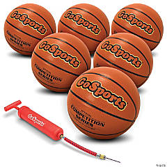 GoSports Indoor Synthetic Leather Competition Basketball 6 Pack with Pump and Carrying Bag - Size 7