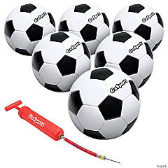 GoSports Size 5 Classic Soccer Ball with Premium Pump - 6 Pack