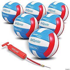 GoSports Soft Touch Recreational Volleyball 6 Pack - Regulation Size for Indoor or Outdoor Play, Includes Ball Pump & Carrying Bag
