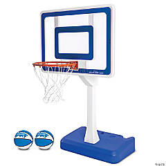"GoSports Splash Hoop ELITE Swimming Pool Basketball Hoop; Huge 44"" x 32"" Pro Style Backboard with Steel Rim and Weighted Base, Includes 2 Water Basketballs and Pump, Adjustable Height"
