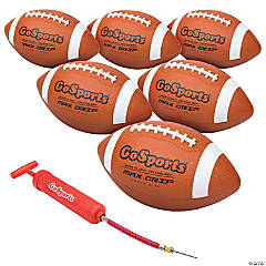 GoSports Youth Size Rubber Footballs - 6 Pack