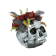 Gothic Halloween Skull Vase with Roses