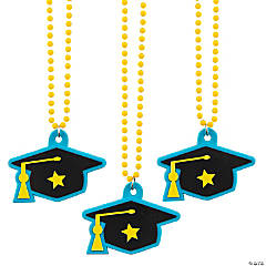 Graduation Beaded Necklaces with Mortarboard Hat Charm