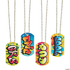 Graffiti Dog Tag Necklaces