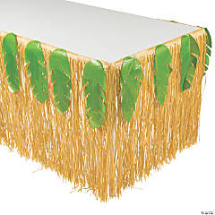 Grass Table Skirt with Banana Leaves