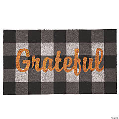 Grateful Black & White Plaid Coir Mat