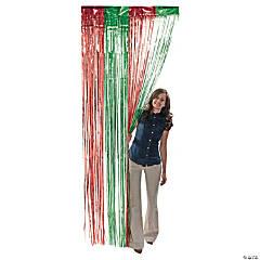 Green & Red Metallic Fringe Door Curtain