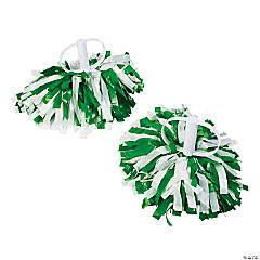 Green & White Spirit Cheer Pom-Poms