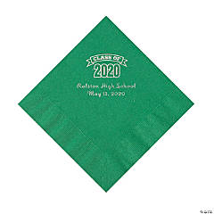 Green Class of 2020 Personalized Napkins with Silver Foil - Luncheon