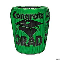 Green Congrats Grad Graduation Plastic Trash Can Cover