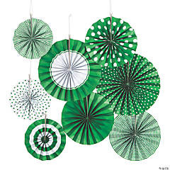 Green Hanging Paper Fan Assortment