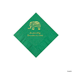 Green Indian Wedding Personalized Napkins with Gold Foil - Beverage