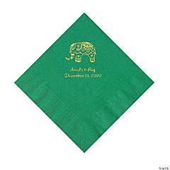 Green Indian Wedding Personalized Napkins with Gold Foil - Luncheon