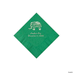 Green Indian Wedding Personalized Napkins with Silver Foil - Beverage