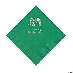Green Indian Wedding Personalized Napkins with Silver Foil - Luncheon
