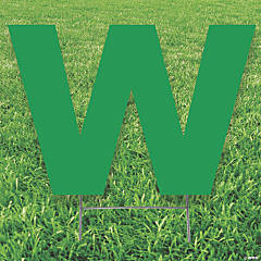 Green Letter W Yard Sign