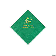 Green Love Is Sweet Personalized Napkins with Gold Foil - Beverage