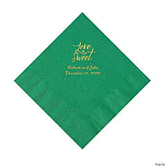 Green Love Is Sweet Personalized Napkins with Gold Foil – Luncheon
