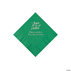 Green Love Is Sweet Personalized Napkins with Silver Foil - Beverage