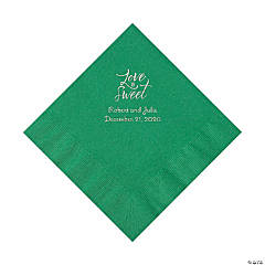 Green Love Is Sweet Personalized Napkins with Silver Foil – Luncheon