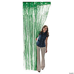 Green Metallic Fringe Door Curtain