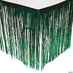 Green Metallic Fringe Plastic Table Skirt
