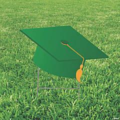 Green Mortarboard Hat Yard Sign
