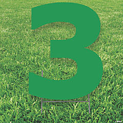 Green Number 3 Yard Sign
