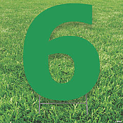 Green Number 6 Yard Sign