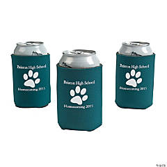 Green Personalized Paw Print Can Coolers