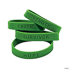 Green Ribbon Awareness Sayings Rubber Bracelets