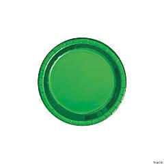 Green Round Metallic Dessert Plates