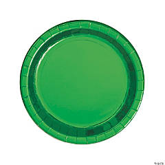Green Round Metallic Dinner Plates