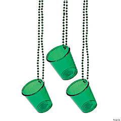 Green Shot Glass Beaded Necklaces