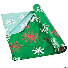 Green Snowflake Plastic Tablecloth Roll