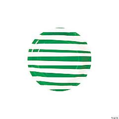 Green Striped Round Paper Dessert Plates - 8 Ct.