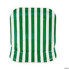Green Striped Square Paper Dessert Plates - 8 Ct.
