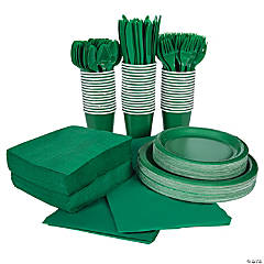 Green Tableware Kit for 48 Guests