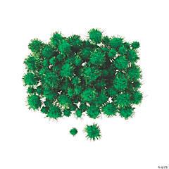 Green Tinsel Pom-Poms