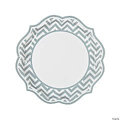 Grey Chevron Scalloped Paper Dinner Plates - 8 Ct.